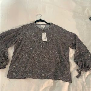 NWT Frank And Oak silk bubble sleeve blouse